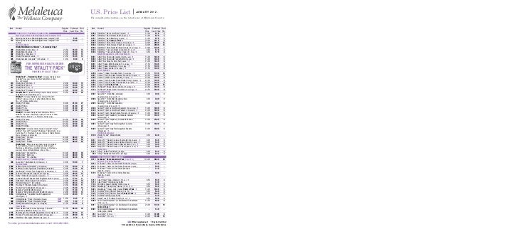 Melaleuca Product Order Form Item   Product                                                       Regular Preferred Prod. ...