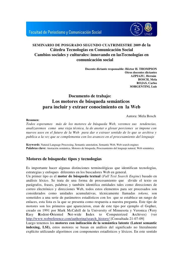 SEMINARIO DE POSGRADO SEGUNDO CUATRIMESTRE 2009 de la              Cátedra Tecnologías en Comunicación Social       Cambio...