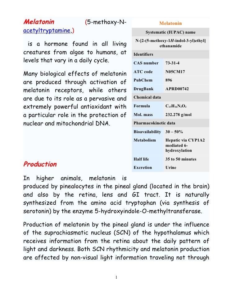 Melatonin             (5-methoxy-N-                    Melatonin acetyltryptamine,)                              Systemati...