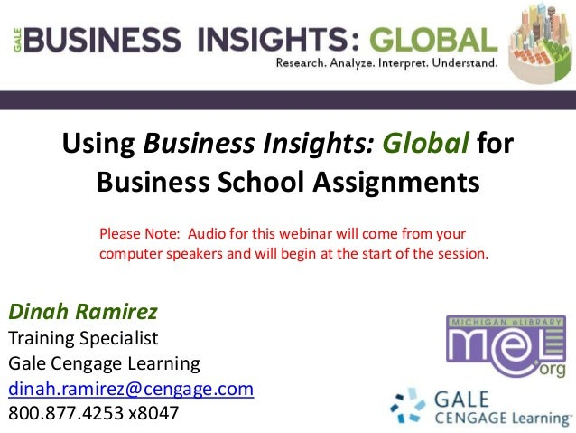 Cengage Learning Training, Research & Libraries, Business Insights: Global for Academic Libraries