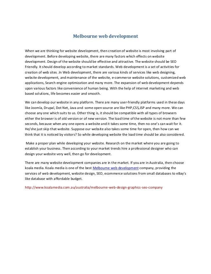 Melbourne web development