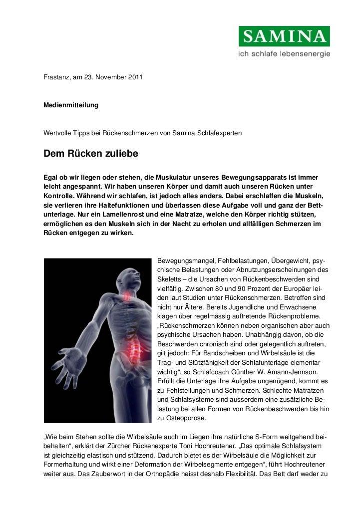 Frastanz, am 23. November 2011MedienmitteilungWertvolle Tipps bei Rückenschmerzen von Samina SchlafexpertenDem Rücken zuli...