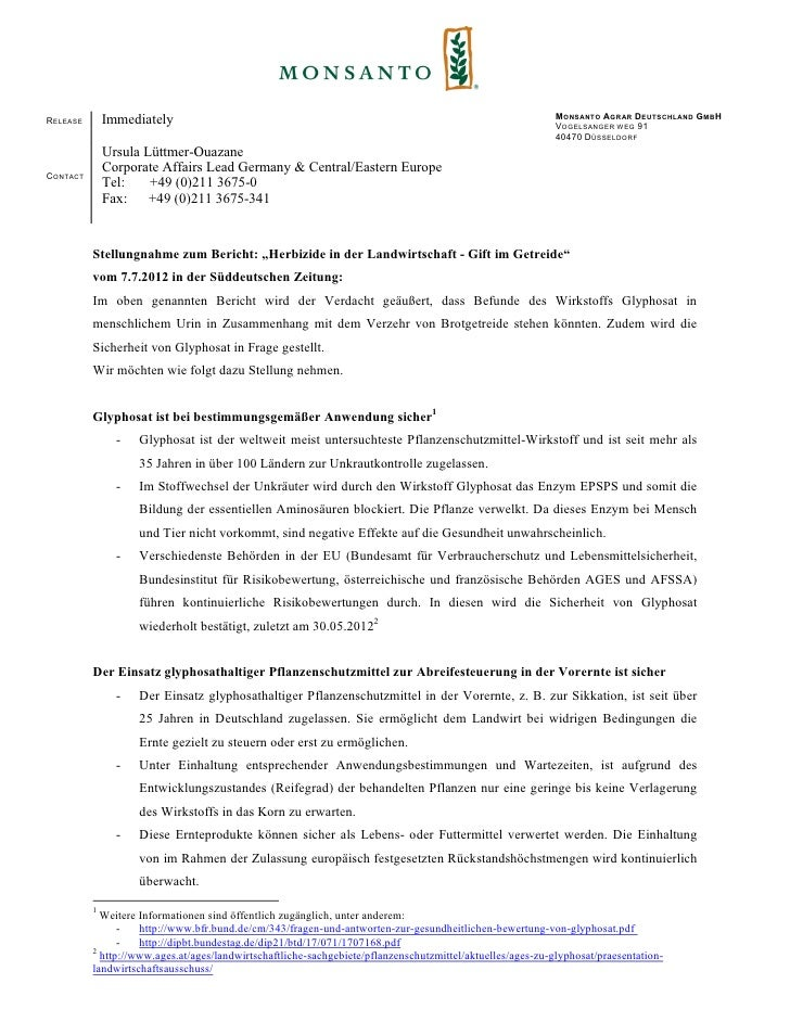 M ONSANTO AGRAR D EUTSCHLAND G MB HR ELEASE       Immediately                                                             ...
