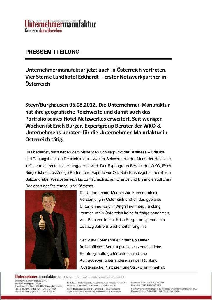 PRESSEMITTEILUNGUnternehmermanufaktur jetzt auch in Österreich vertreten.Vier Sterne Landhotel Eckhardt - erster Netzwerkp...