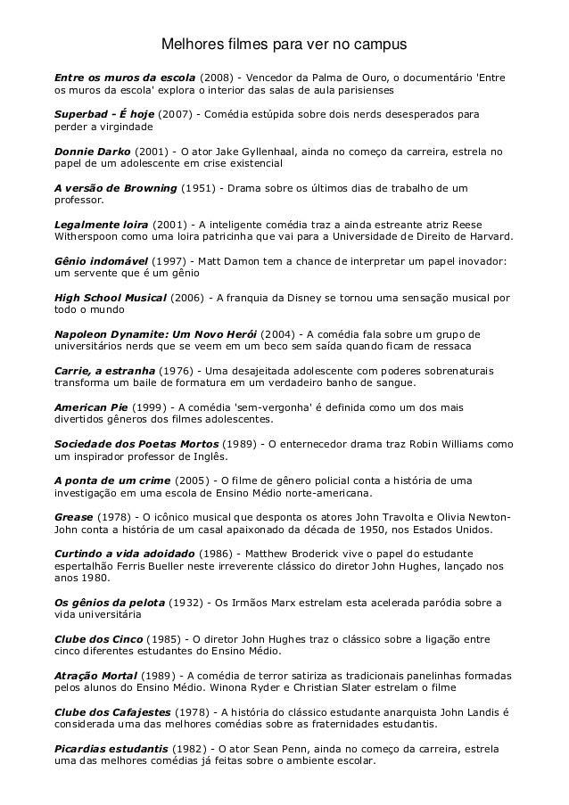 Melhores filmes para ver no campus Entre os muros da escola (2008) - Vencedor da Palma de Ouro, o documentário 'Entre os m...