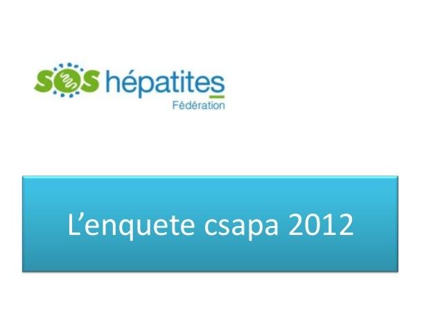 L'enquete csapa 2012