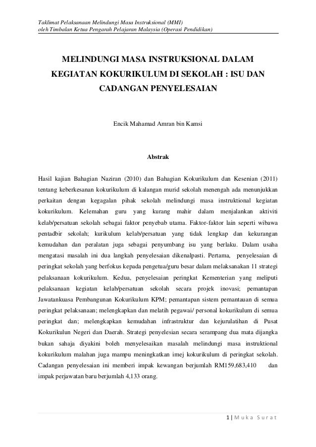Taklimat Pelaksanaan Melindungi Masa Instruksional (MMI) oleh Timbalan Ketua Pengarah Pelajaran Malaysia (Operasi Pendidik...