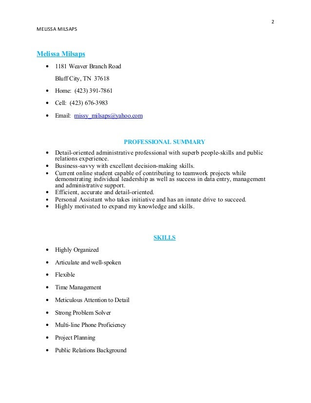 resume for milsaps