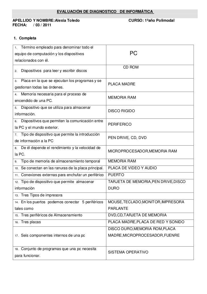 EVALUACIÓN DE DIAGNOSTICO   DE INFORMÁTICA <br />APELLIDO Y NOMBRE:Alexia Toledo                                          ...