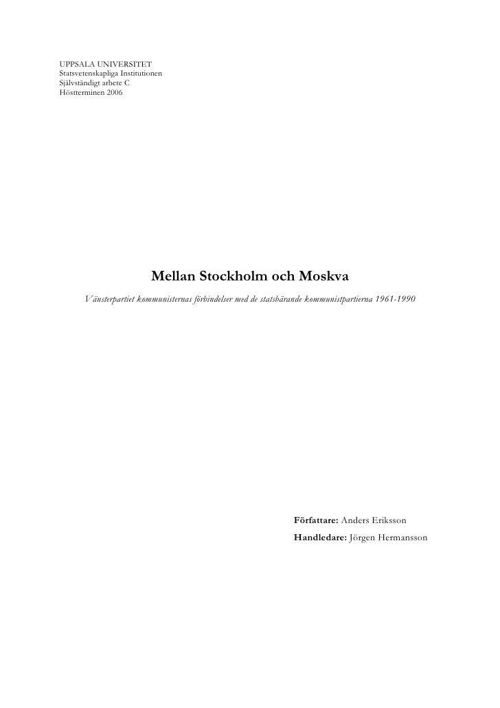 Mellan stockholm och moskva