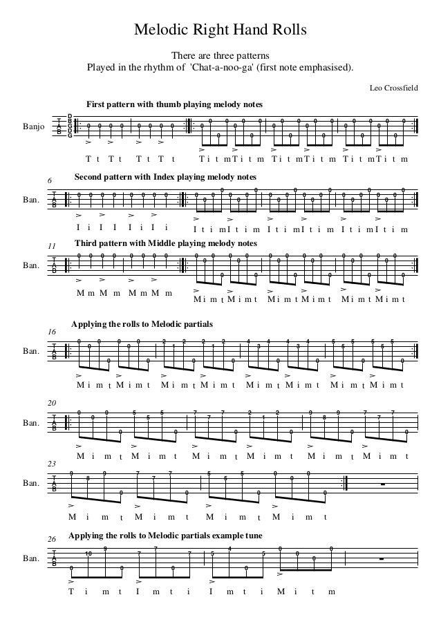 Melodic 5 String Banjo Roll patterns