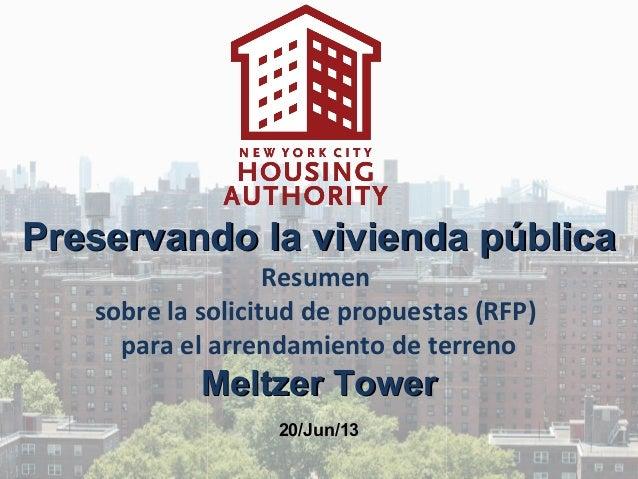 Preservando la vivienda públicaPreservando la vivienda públicaResumensobre la solicitud de propuestas (RFP)para el arrenda...