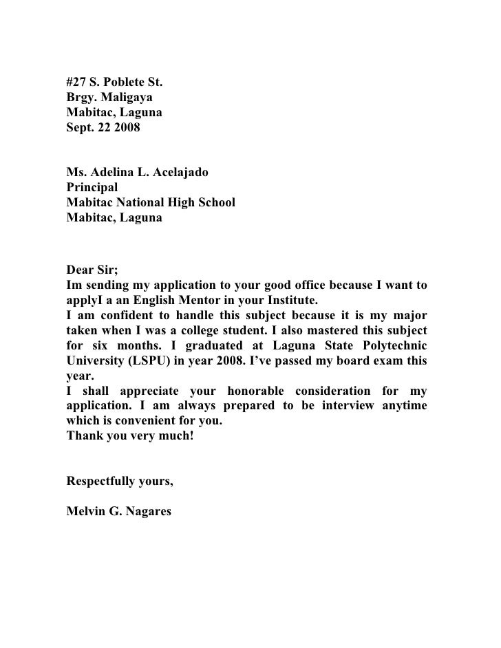 Sample Letter of Motivation or Application Letter to University
