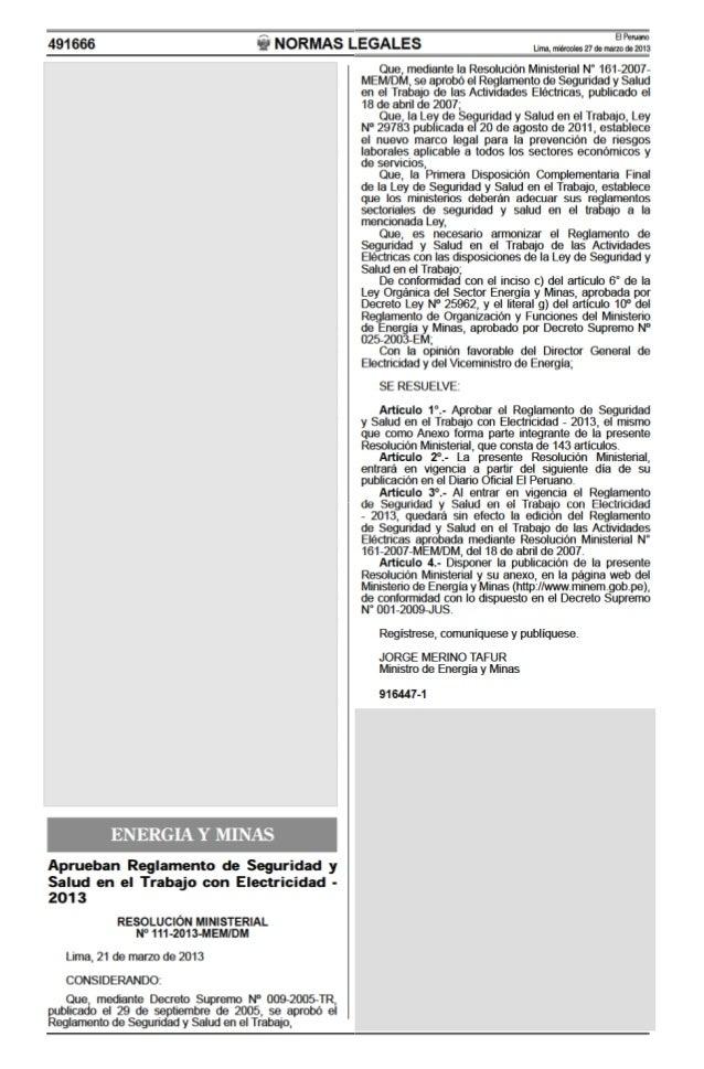 MINISTERIO DE ENERGÍA Y MINAS   DIRECCIÓN GENERAL DE ELECTRICIDAD REGLAMENTO DE SEGURIDAD Y SALUDEN EL TRABAJO CON ELECTRI...