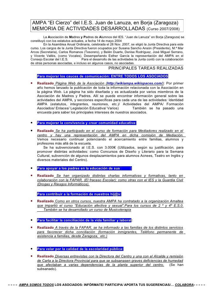 Memoria Actividades Amypa IES 2007_08