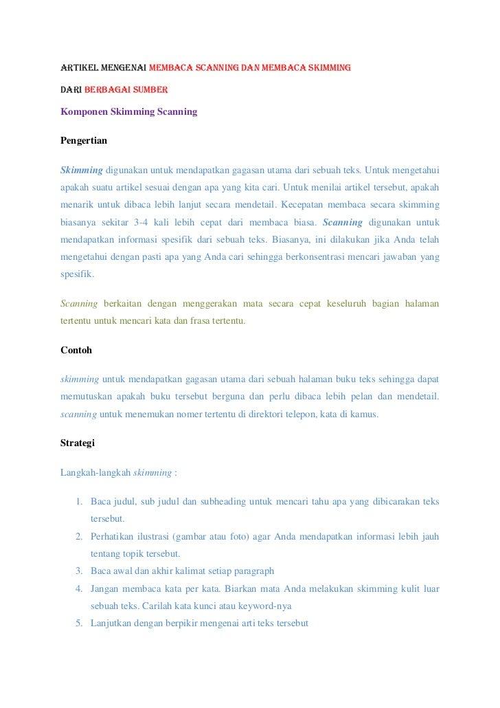 Artikel mengenai Membaca scanning dan Membaca skimmingDari berbagai sumberKomponen Skimming ScanningPengertianSkimming dig...