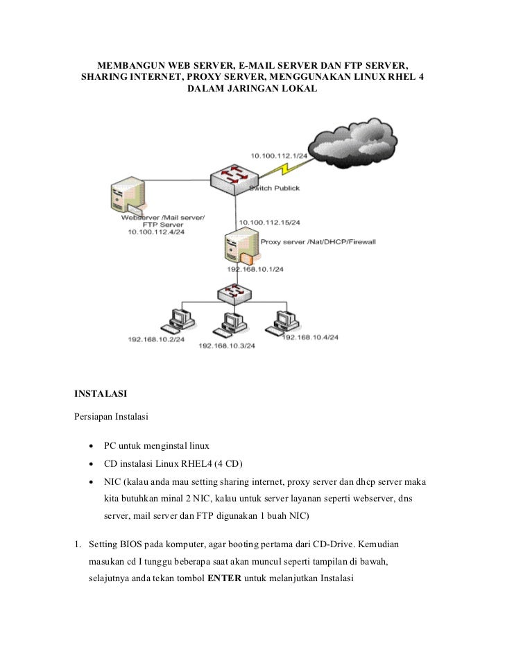MEMBANGUN WEB SERVER, E-MAIL SERVER DAN FTP SERVER, SHARING INTERNET, PROXY SERVER, MENGGUNAKAN LINUX RHEL 4              ...