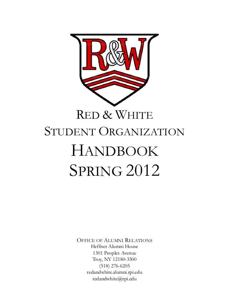 Red & White Student Organization - Member Handbook