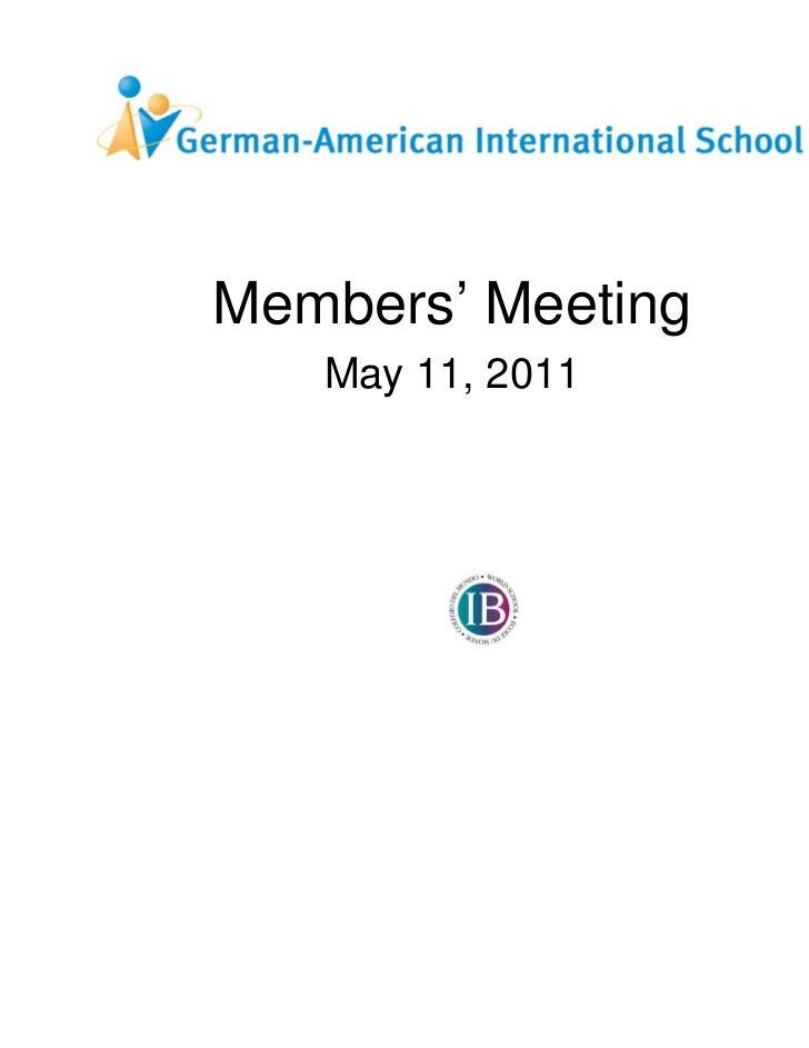 Members' Meeting   May 11, 2011