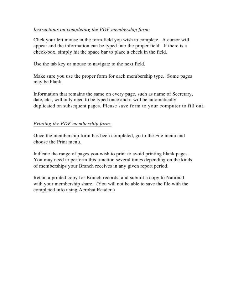 Membership Report Form