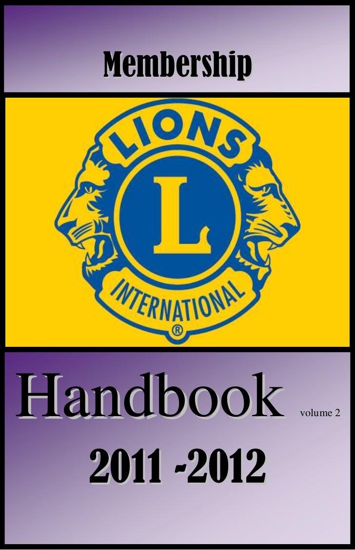 2011/12 Membership Handbook for Dumas Noon Lions Club