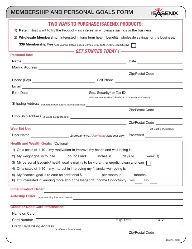 Membership Form With Cleanse Cost