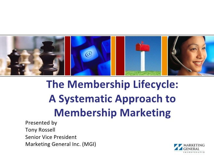 The Membership Lifecycle:        A Systematic Approach to         Membership MarketingPresented byTony RossellSenior Vice ...