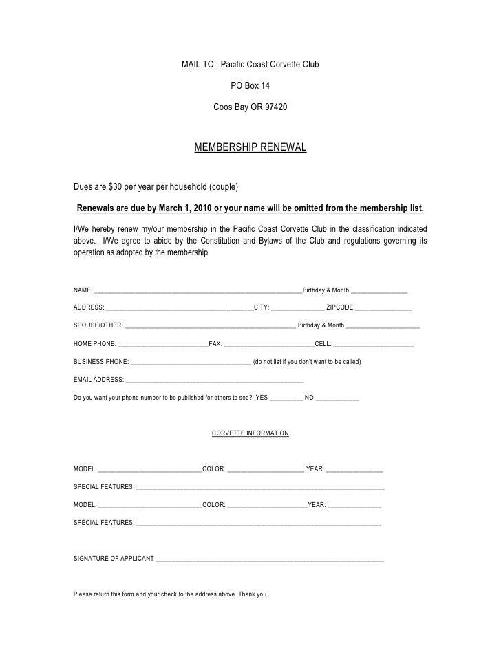 Membership renewal 2010
