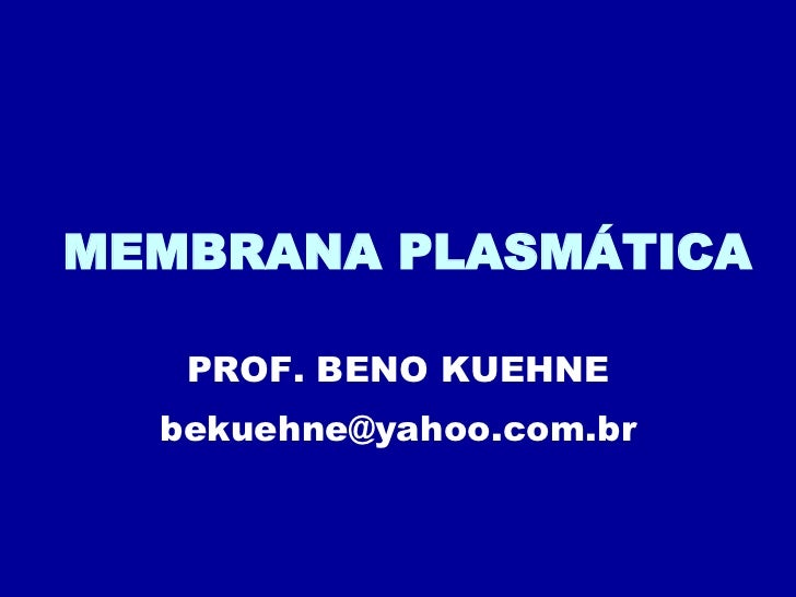 MEMBRANA PLASMÁTICA PROF. BENO KUEHNE [email_address]
