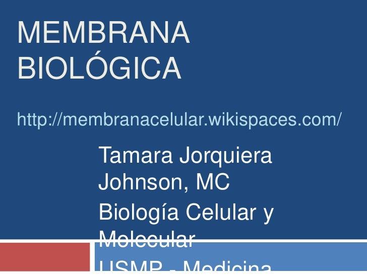 Membrana Biológicahttp://membranacelular.wikispaces.com/<br />Tamara Jorquiera Johnson, MC<br />Biología Celular y Molecul...