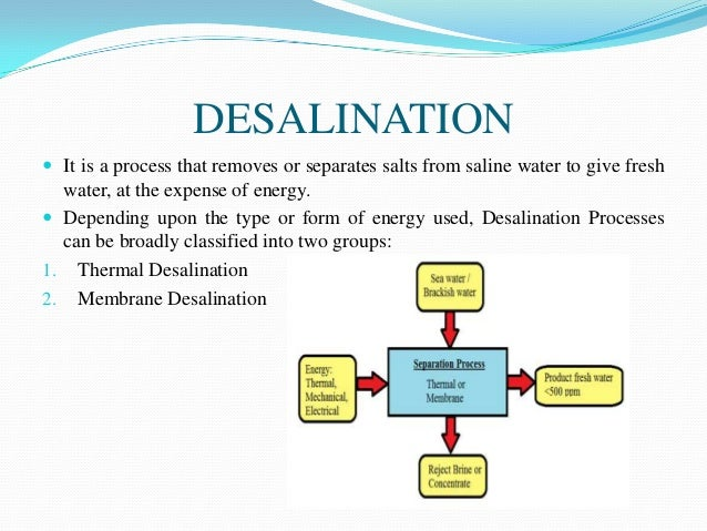 the desalination of sea water using Membrane distillation (md) is a water desalination membrane process currently in limited commercial use md is a hybrid process of ro and distillation in which a hydrophobic synthetic membrane is used to permit the flow of water vapor through the membrane pores, but not the solution itself.