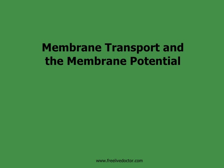 Membrane Transport and the Membrane Potential www.freelivedoctor.com