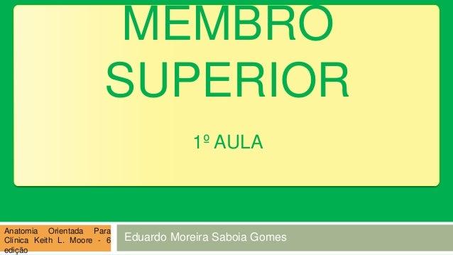 MEMBRO SUPERIOR 1º AULA Anatomia Orientada Para Clínica Keith L. Moore - 6 edição Eduardo Moreira Saboia Gomes