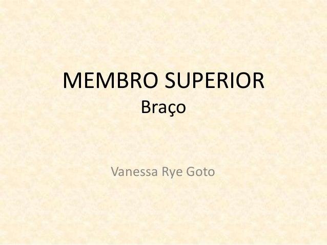 MEMBRO SUPERIOR Braço Vanessa Rye Goto