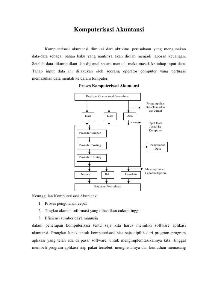 Komputerisasi Akuntansi         Komputerisasi akuntansi dimulai dari aktivitas perusahaan yang mengunakan data-data sebaga...