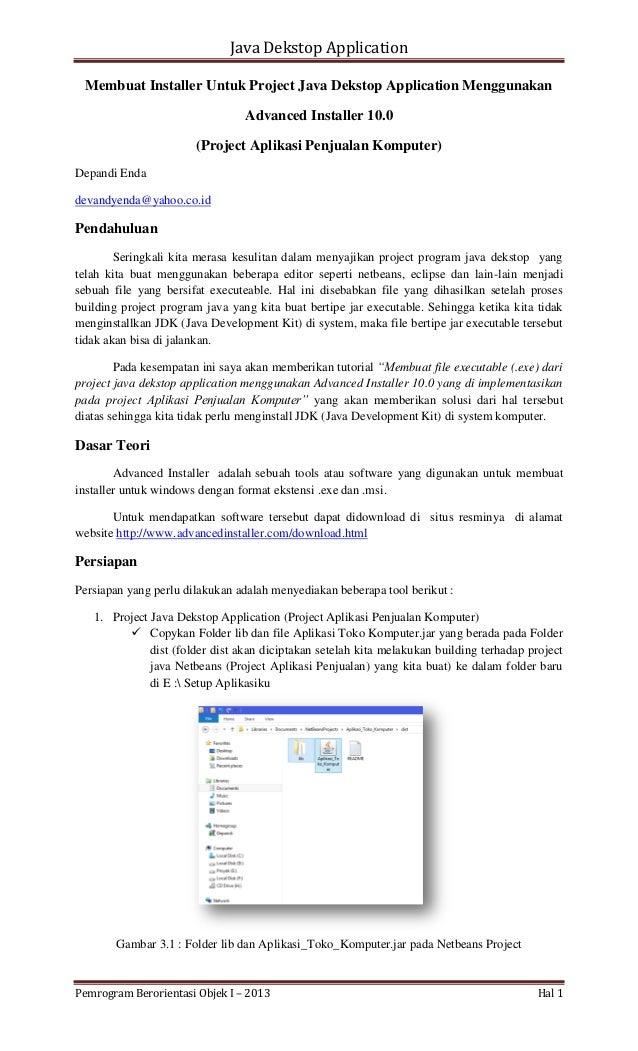 Java Dekstop Application Membuat Installer Untuk Project Java Dekstop Application Menggunakan Advanced Installer 10.0 (Pro...