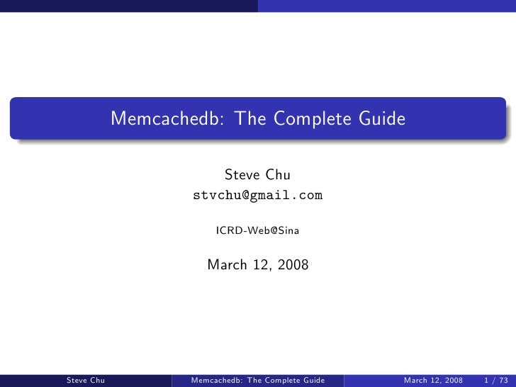 Memcachedb: The Complete Guide