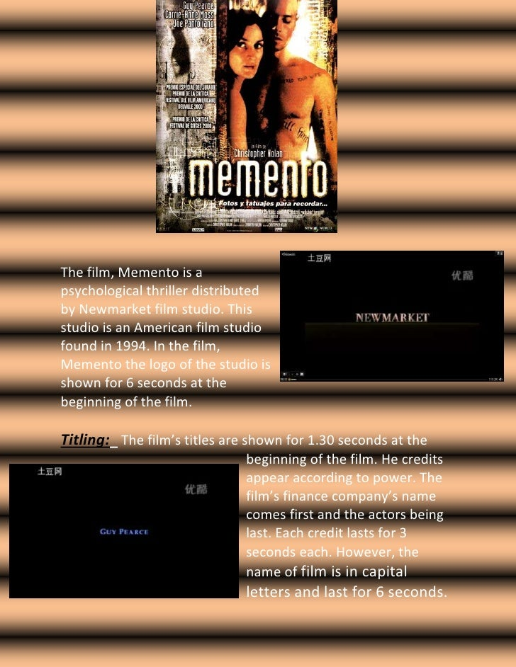 1439545-926465    <br />3313430283845<br />The film, Memento is a psychological thriller distributed by Newmarket film stu...