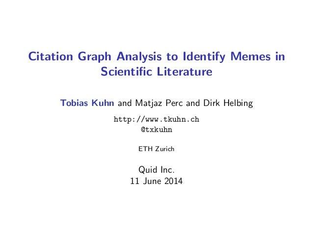 Citation Graph Analysis to Identify Memes in Scientific Literature