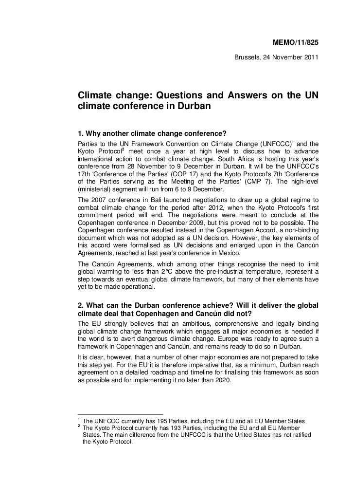 MEMO/11/825                                                             Brussels, 24 November 2011Climate change: Question...