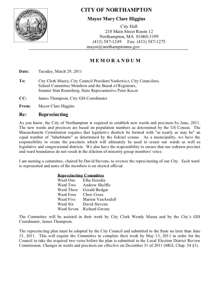 Memo Reprecincting Committee 29 March 2011