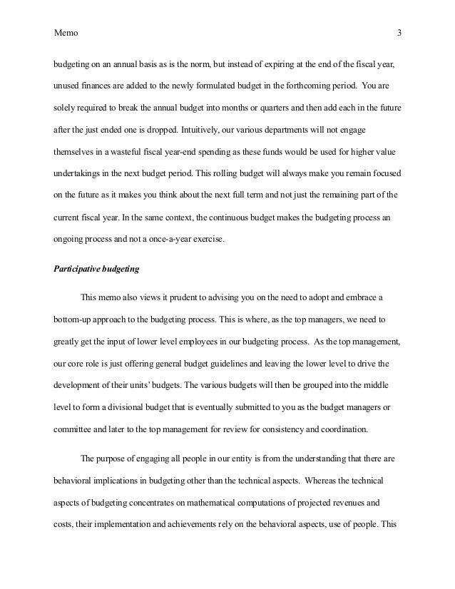 Memo essay