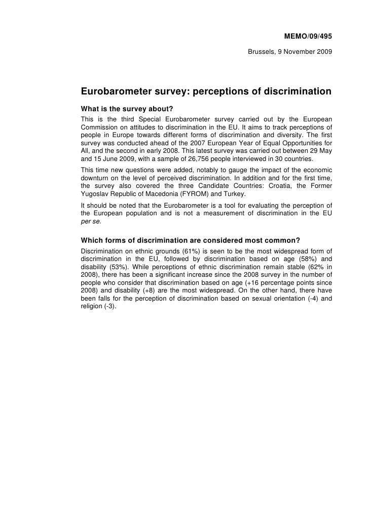 MEMO/09/495                                                           Brussels, 9 November 2009     Eurobarometer survey: ...
