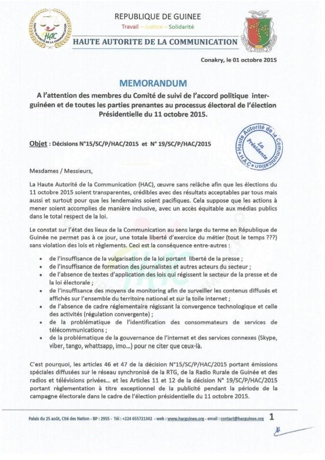 HAUTE AUTORITE DE LA COMMUNICATION (HAC)-Memo acteurs-