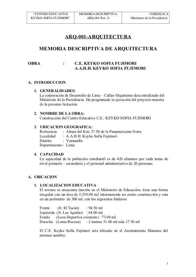 """""""CENTRO EDUCATIVO          MEMORIA DESCRIPTIVA                           CORDELICA KEYKO SOFIA FUJIMORI""""          ARQ-001 ..."""