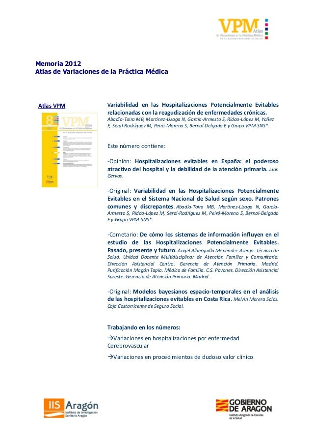 Memoria 2012Atlas de Variaciones de la Práctica MédicaAtlas VPM             Variabilidad en las Hospitalizaciones Potencia...