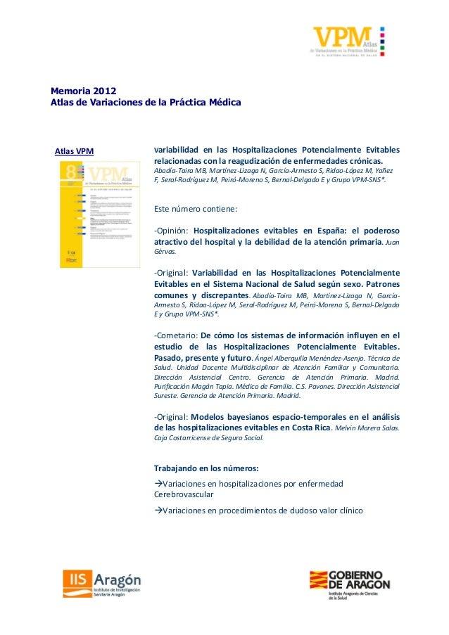 Memoria de las actividades del grupo Atlas VPM 2012