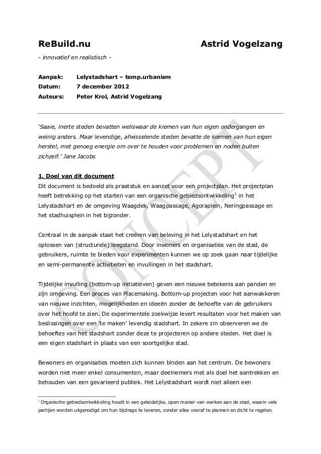 Memo bottom up ontwikkeling Lelystadshart, lelystad
