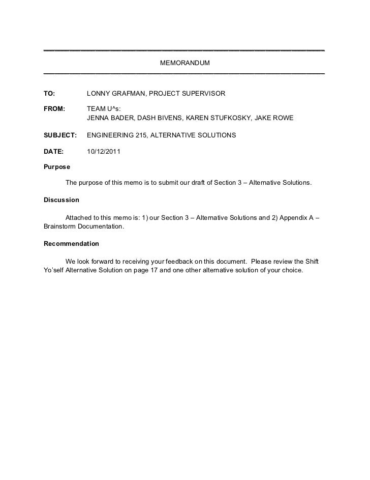 Memo Cover Letter Section 3 Alternative Solutions