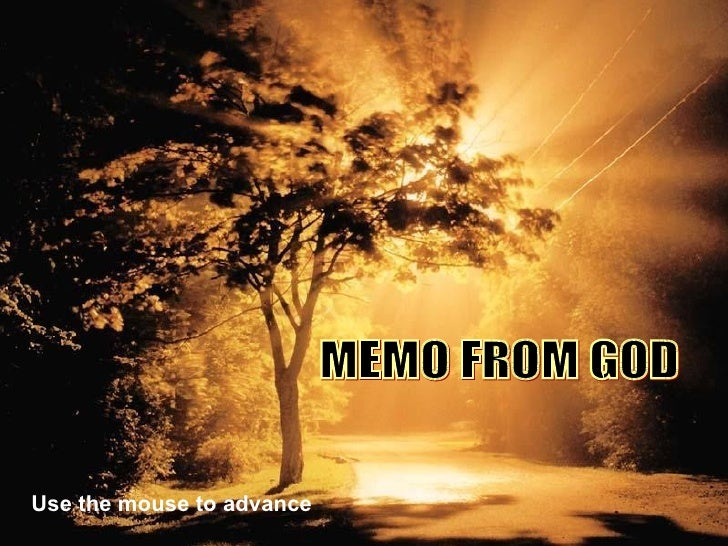 Memo From Our God